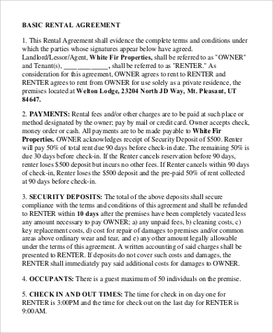 Basic Rental Agreement for Agreement In Pdf