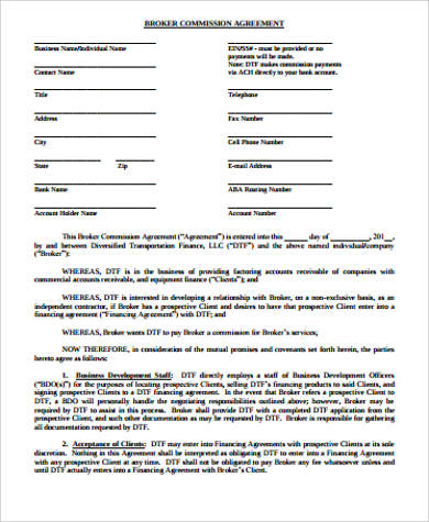 Broker Commission Agreement for Commission Agreement