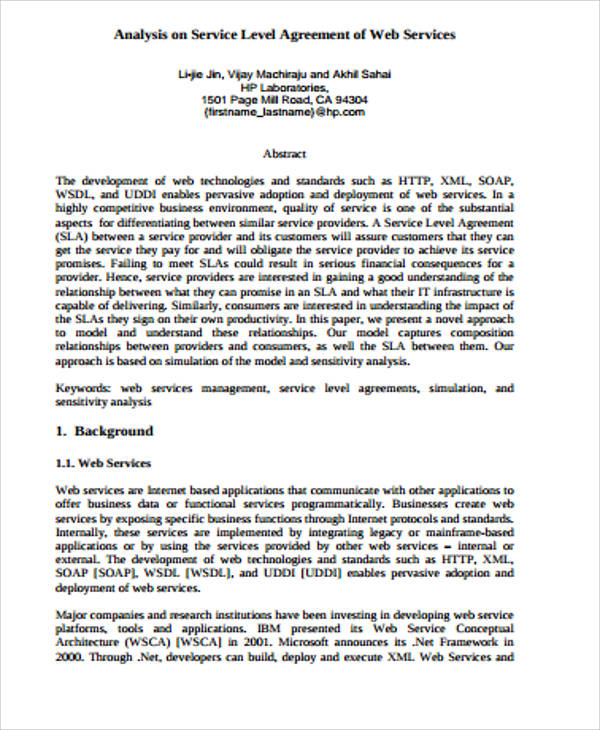 Business Analysis Service Level Agreement for Business Service Level Agreement