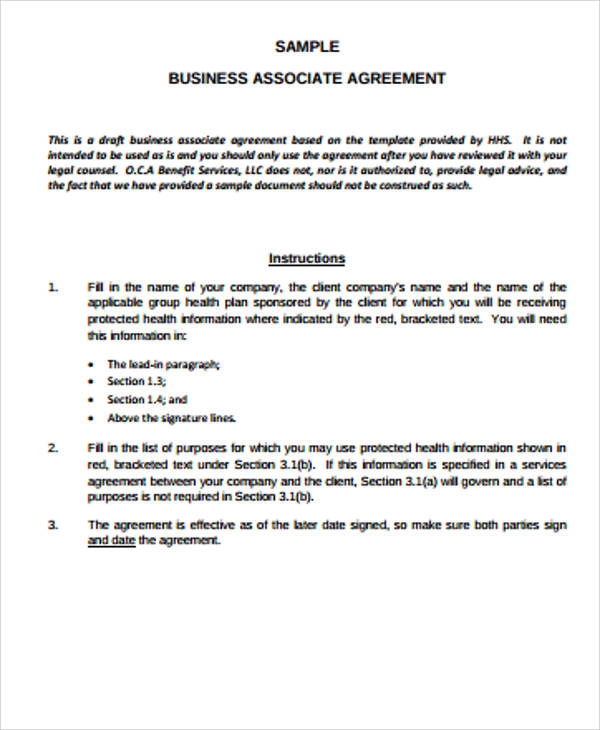 Business Associate Agreement Example for Business Associate Agreement