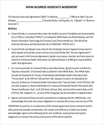 Business Associate Agreement for Agreement In Pdf