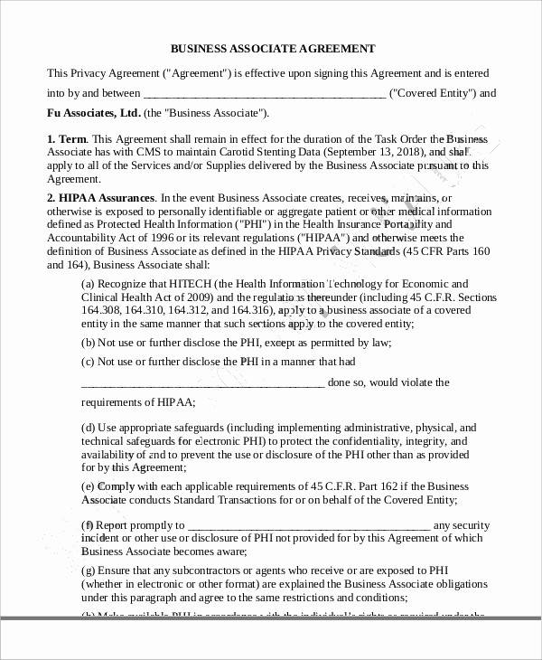 Business Associate Agreement for Sample Agreements