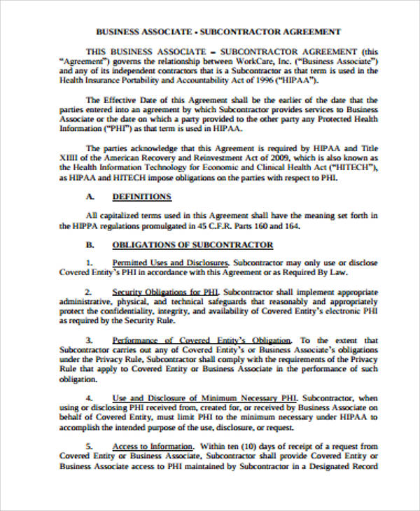 Business Associate Subcontractor Agreement for Business Associate Agreement