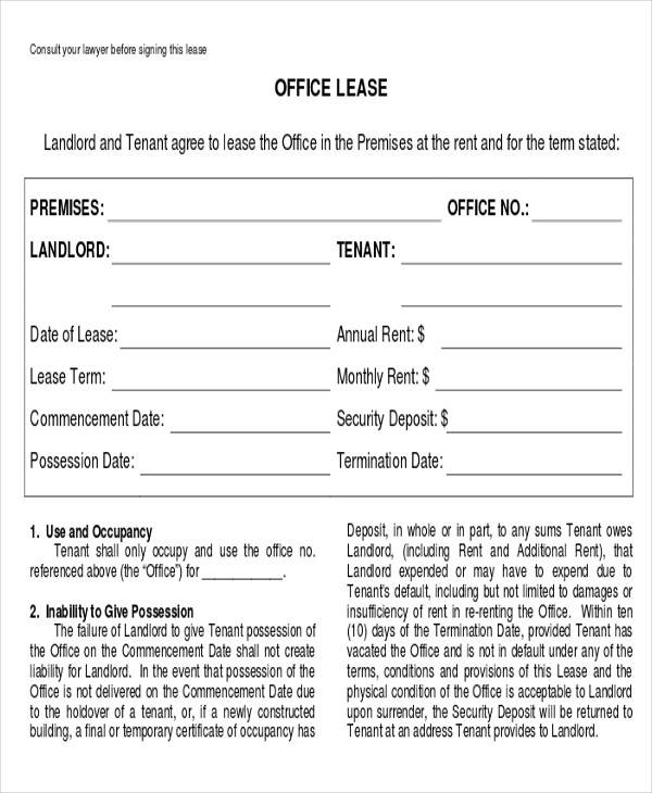 Business Office Lease Agreement Form for Business Agreement Form