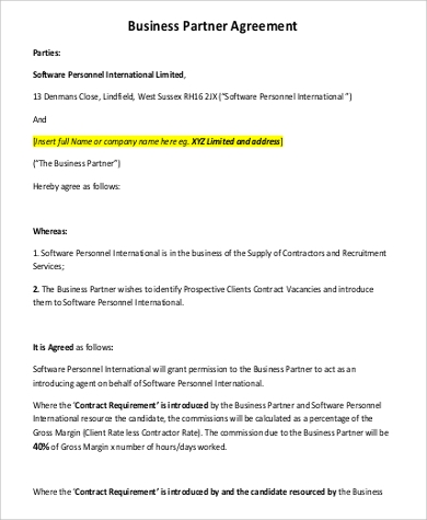 Business Partner Agreement for Agreement In Pdf