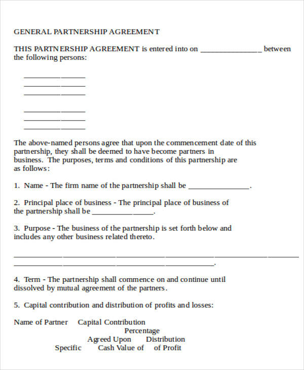 Business Partnership Agreement Contract Form for Business Agreement Form