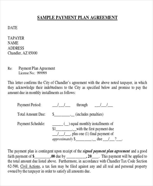 Business Payment Plan Agreement Form for Business Agreement Form