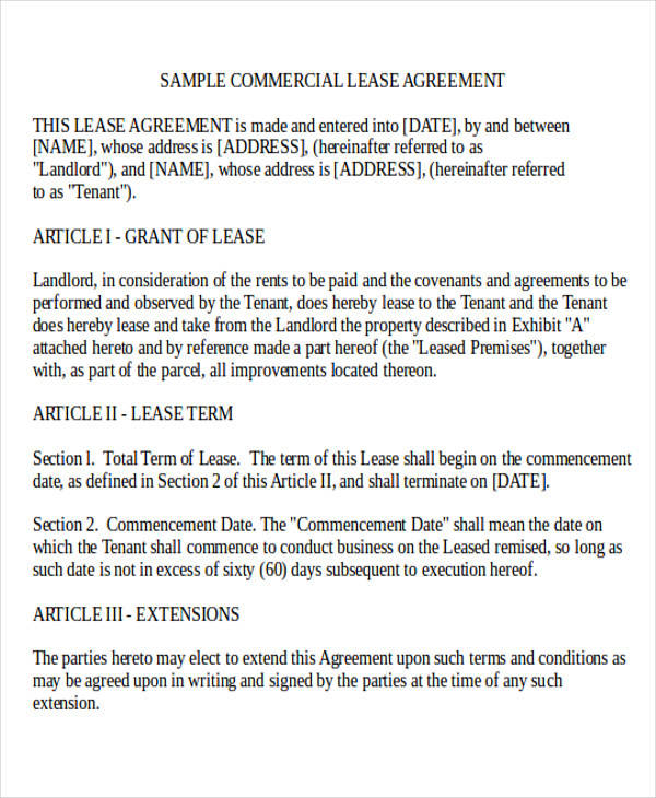 Business Rental Lease Agreement Form for Business Agreement Form
