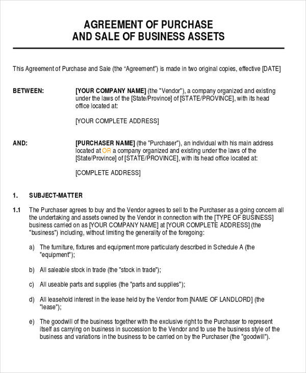 Business Sale and Purchase Agreement Form for Business Agreement Form