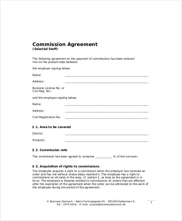 Business Sales Commission Agreement for Business Sales Agreement