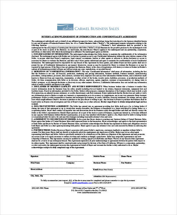 Business Sales Confidentiality Agreement for Business Sales Agreement