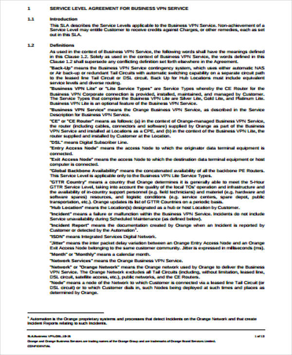 Business Service Level Agreement Example for Business Service Level Agreement