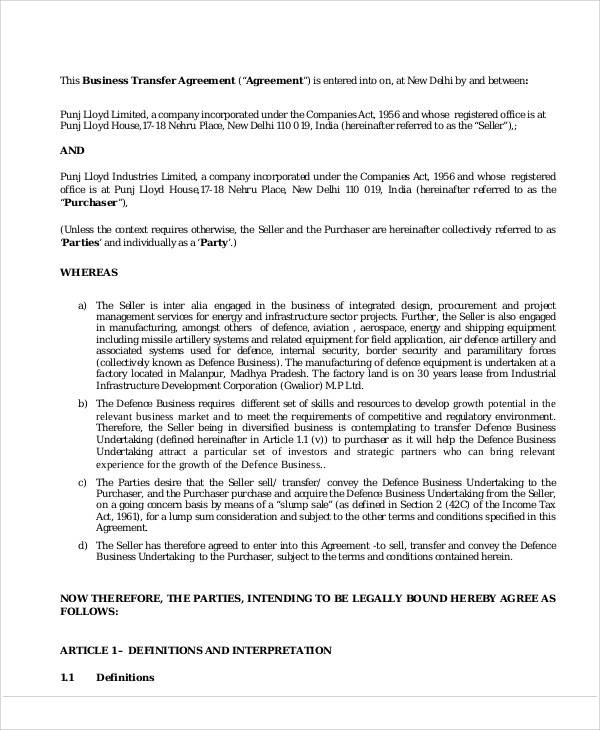 Business Transfer Agreement for Sample Agreements