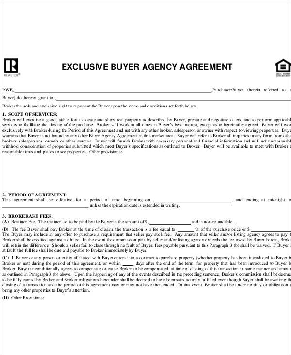 Buyer Agency Agreement for Sample Agreements