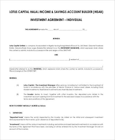 Capital Investment Agreement for Agreement In Pdf