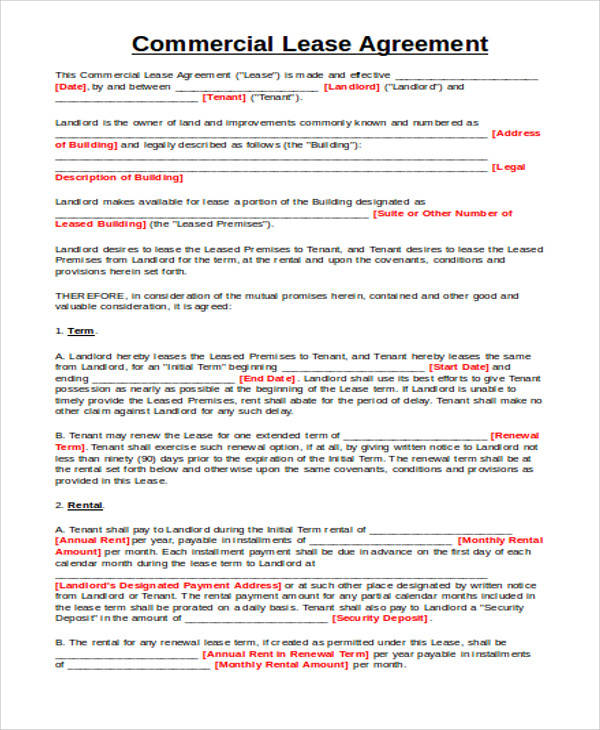 Commercial Lease Agreement for Agreement In Word