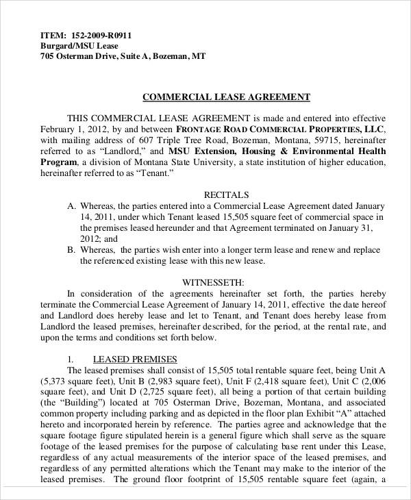 Commercial Lease Agreement for Printable Agreement