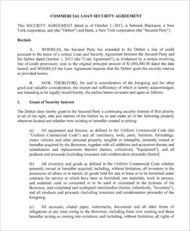 Commercial Loan Security Agreement for Agreement In Pdf