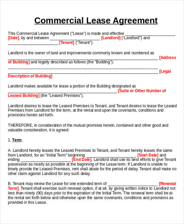Commercial Sublease Business Agreement Form for Business Agreement Form