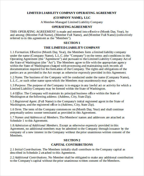 Company Operating Agreement for Agreement In Word