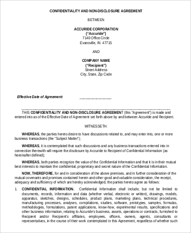 Confidentiality and Non Disclosure Agreement for Agreement In Pdf
