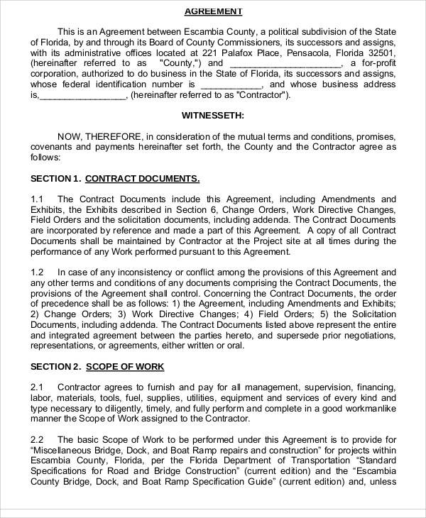Construction Contract Agreement for Sample Agreements