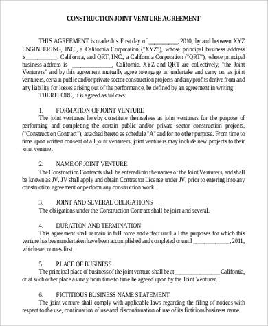 Construction Joint Venture Agreement for Agreement In Pdf