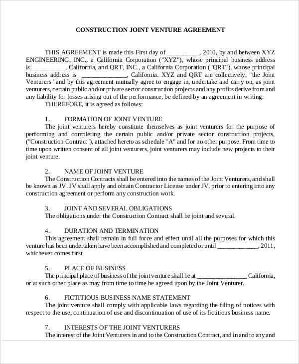 Construction Joint Venture Agreement for Sample Agreements
