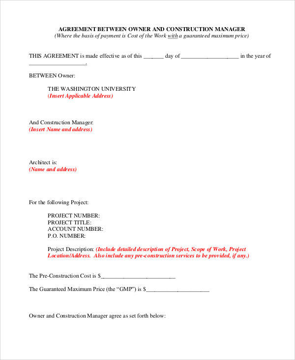 Construction Management Agreement for Sample Agreements