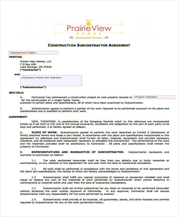 Construction Subcontractor Agreement for Free Sample Agreements