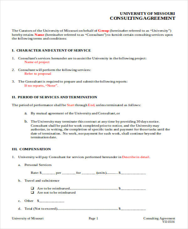 Consulting Agreement Form for Agreement In Word