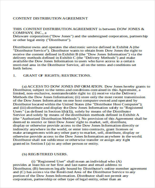 Content Distribution Agreement for Agreement In Word