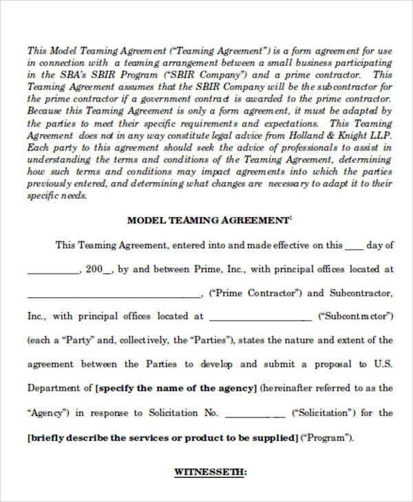 Contractor Teaming Agreement for Agreement In Word