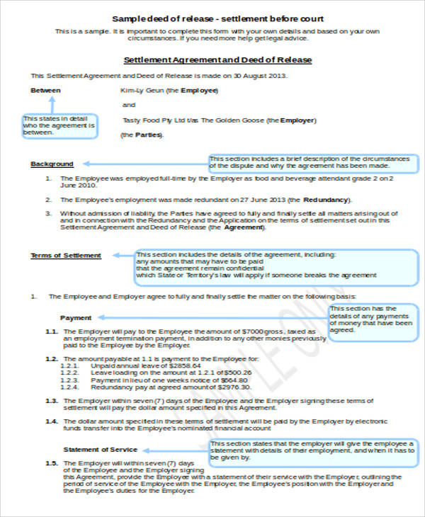 Deed of Release Agreement for Agreement In Word