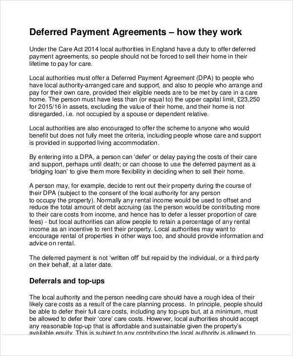 Deferred Payment Agreement for Printable Agreement