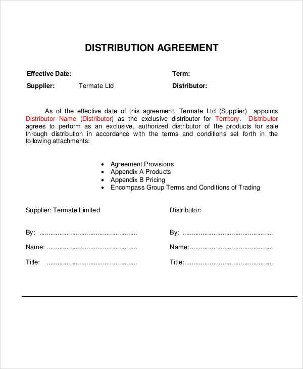 Distribution Agreement for Sample Agreements