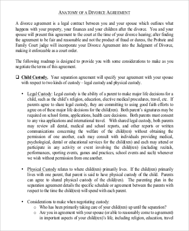 Divorce Agreement in PDF for Agreement In Pdf