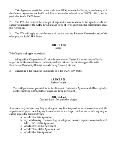 Economic Partnership Agreement for Agreement In Pdf