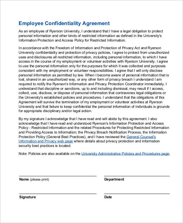 Employee Confidentiality Agreement for Sample Agreements