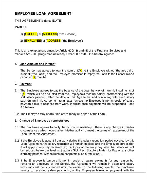 Employee Loan Agreement for Printable Agreement