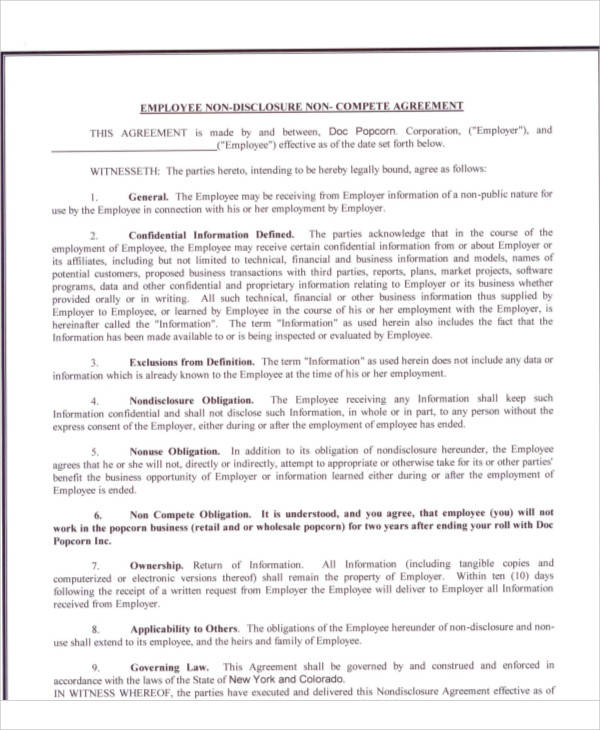 Employee Non Compete Agreement for Printable Agreement