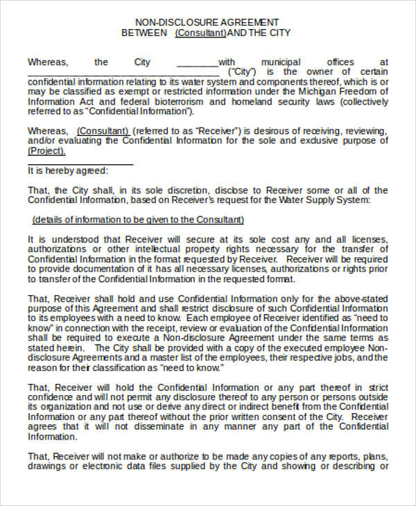 Employee Non Disclosure Agreement for Agreement In Word