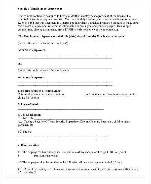 Employment Agreement Contract for Printable Agreement