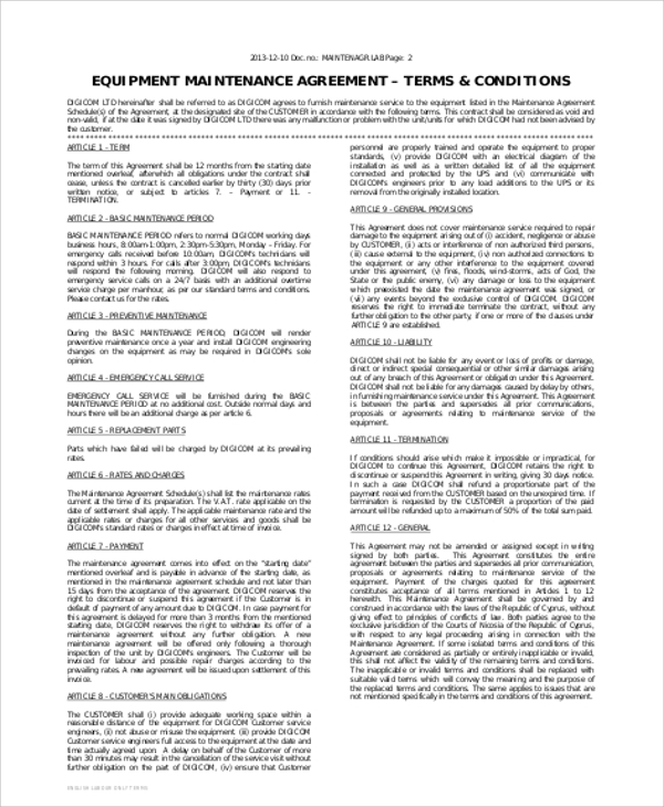 Equipment Maintenance Contract Agreement for Maintenance Contract Agreement