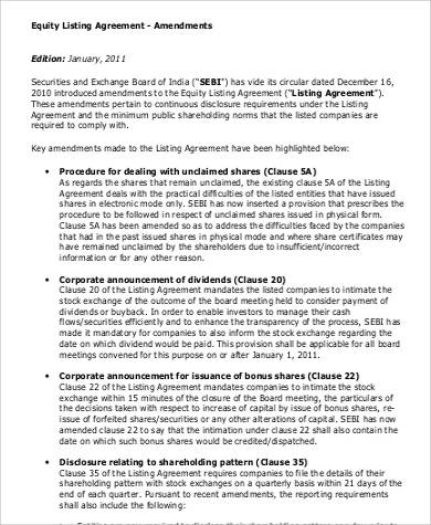 Equity Listing Agreement for Agreement In Pdf