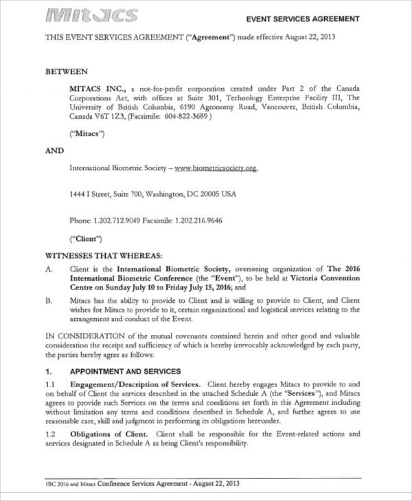 Event Management Agreement for Sample Agreements