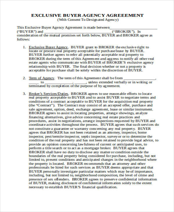 Exclusive Agency Agreement for Agreement In Word