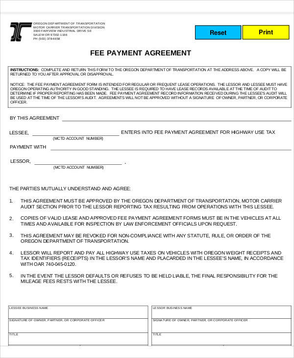 Fee Payment Agreement for Printable Agreement