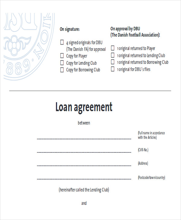Free Loan Contract Agreement Example for Free Sample Agreements