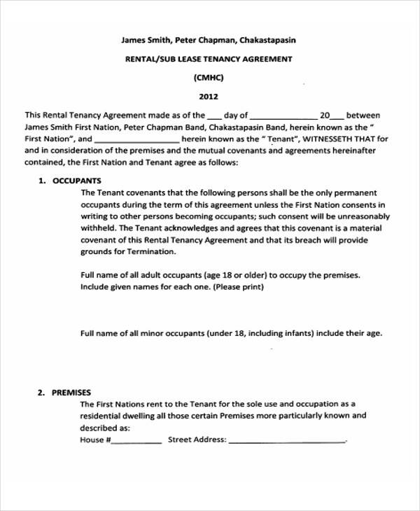 Free Rental Tenancy Agreement Sample for Free Sample Agreements